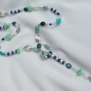 Handmade Turquoise and mixed blue,green beaded necklace.