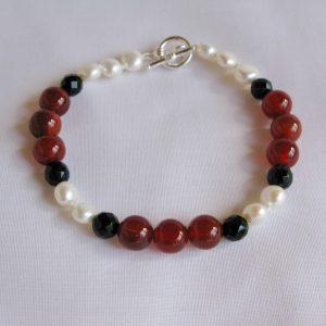 Cornelian, Onyx and Pearl Handmade Bracelet
