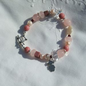 Rose quartz and pearl bracelet, silver charm