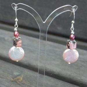 Pink Coin and Rhodonite Drop Earrings
