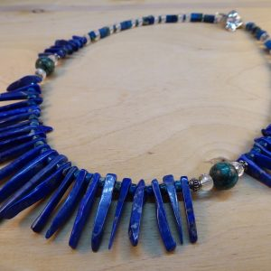 Lapis Lazuli fringe and blue Jasper necklace