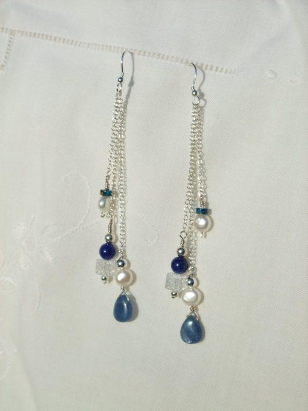 Blue Kyanite triple drop silver chain earrings