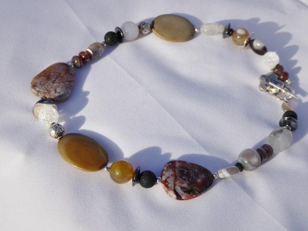 Botswana, Rhyolite Agate and Quartz Necklace