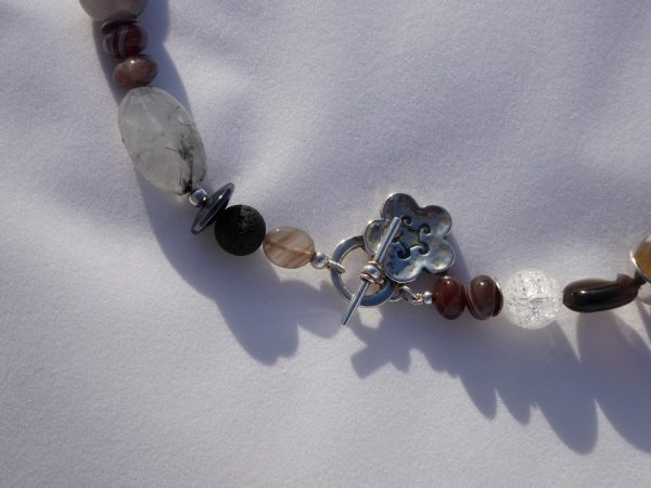 Botswana, Agate Necklace Unusual Silver Clasp
