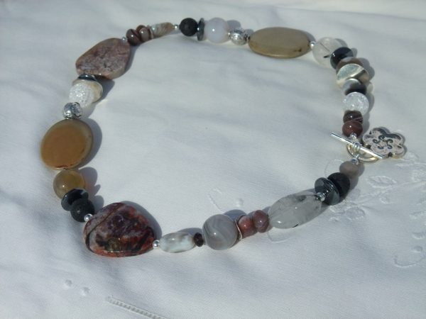 Botswana, Rhyolite Agate and Silver Necklace