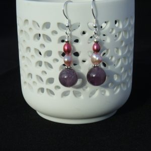 Amethyst and pink and Burgundy Pearl drop earrings