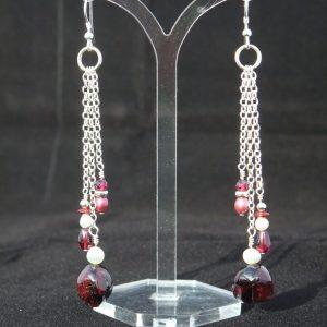 Garnet triple chain drop earrings