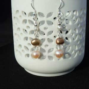 Bronze and Pink Pearl Drop Earrings