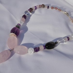 Rose quartz, Amethyst, Quartz and Silver necklace