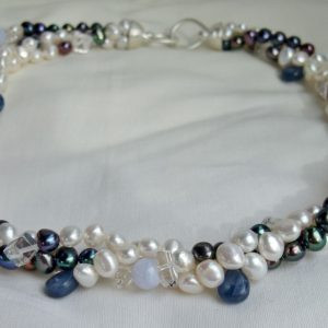 Triple Row Twist Necklace of White and Peacock Pearls