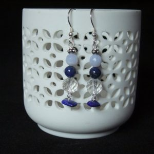 Blue crazy lace and crystal earrings