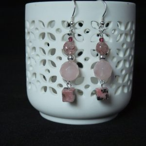 Rose and Cherry Quartz Earrings