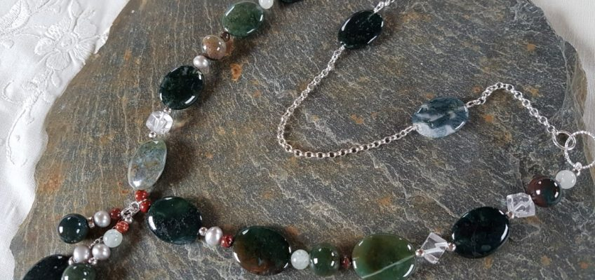 Handmade Moss Agate Necklace