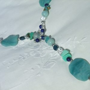 Amazonite wavy loop beaded necklace