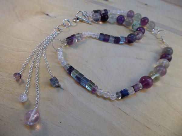 Long Fluorite, Silver and Crackled Quartz Asymmetric necklace