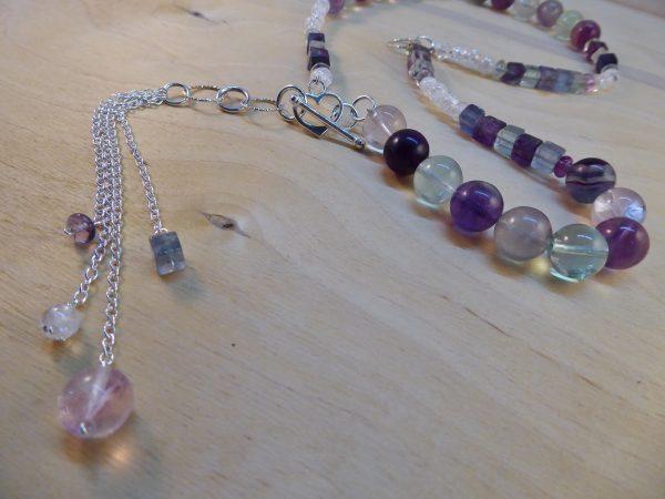 Fluorite Asymmetric necklace Tassels Front