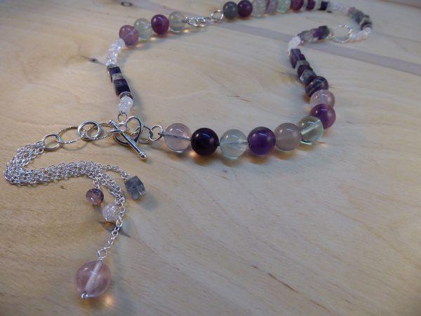 Fluorite Asymmetric Beaded Silver Tassel necklace