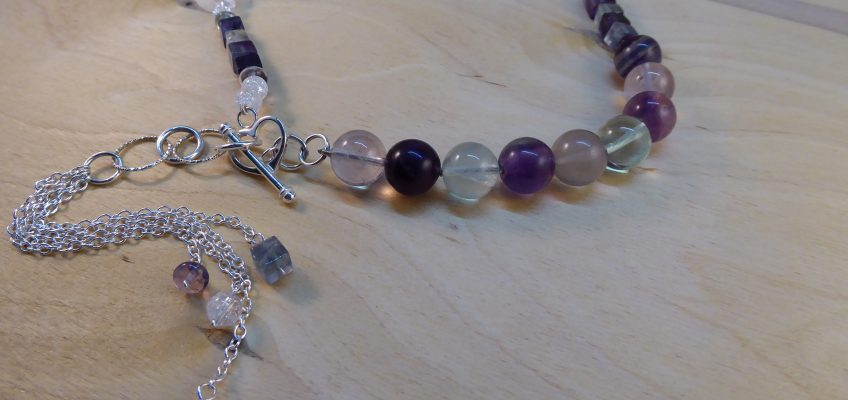Fluorite Asymmetric Beaded Silver Tassel necklace