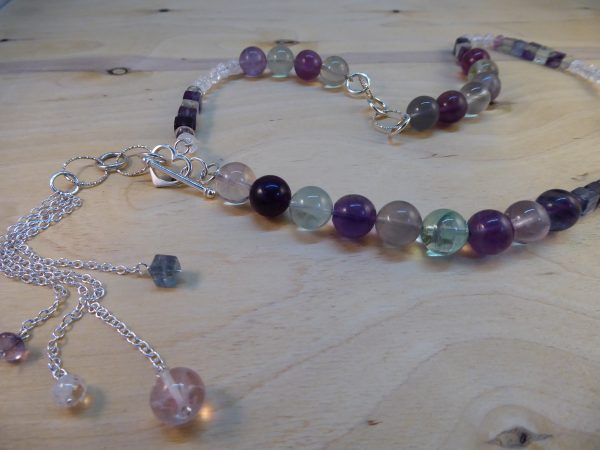 Fluorite Asymmetric Long Necklace with Silver Details.