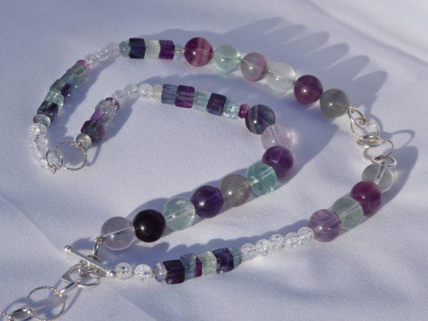 Fluorite Asymmetric Beaded Silver necklace