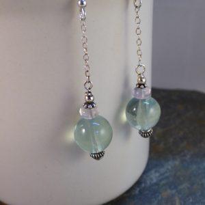 Green Fluorite Chain Drop Earrings