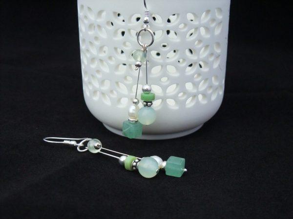 Green Prehnite and Aventurine drop Earrings
