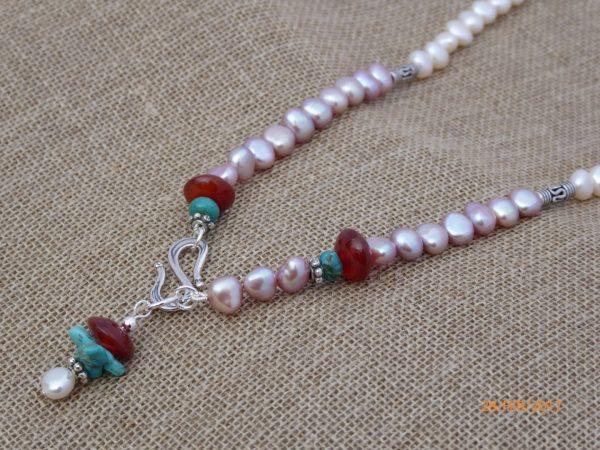 White, Pink Pearl, Cornelian Necklace
