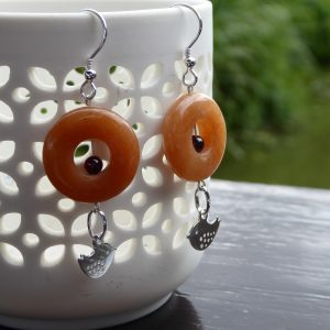 Pair of Cornelian Donut Silver Earrings