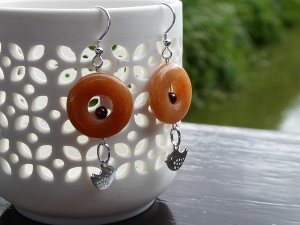 Pair of Cornelian Donut Silver Earrings