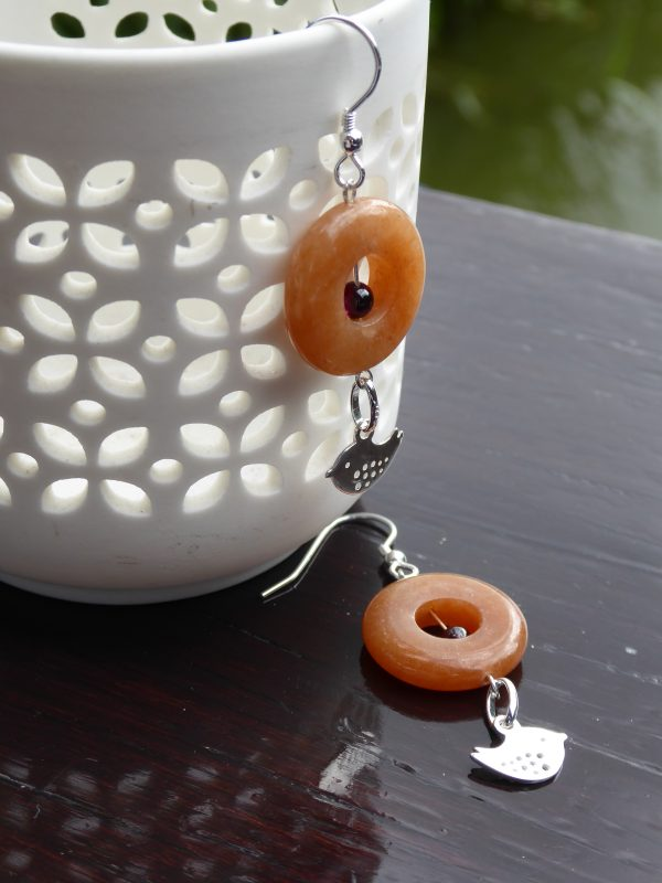 Pair of Cornelian Donut Silver Earrings with bird charm.