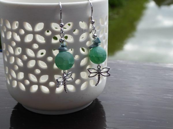 Green quartz dragonfly earrings