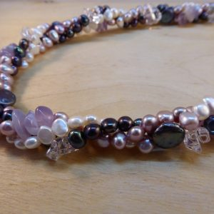 Lilac Pearl 3 row twist Necklace