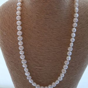 White Freshwater Pearl Hand Knotted Necklace