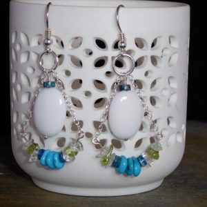 Turquoise and White Onyx Swinging Earrings