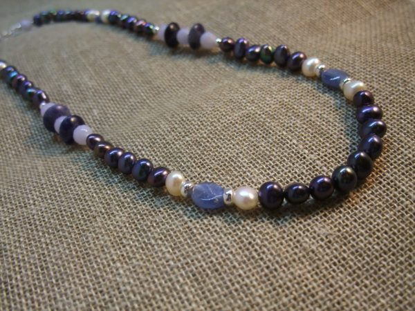 Peacock Pearl and Blue Gemstone Necklace