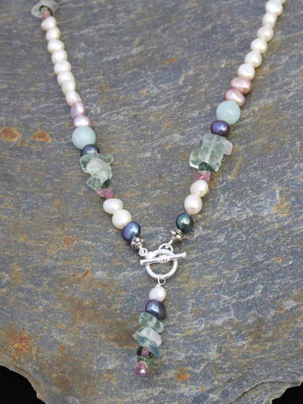 Pearl, Fluorite Beaded Necklace