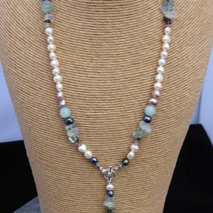 Handmade Pearl, Fluorite Beaded Necklace