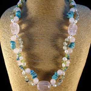 Handmade Rose Quartz, Prehnite and Turquoise Necklace