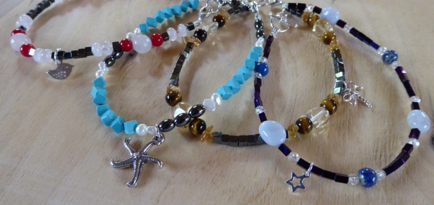 Handmade Gemstone Beaded Anklets Selection