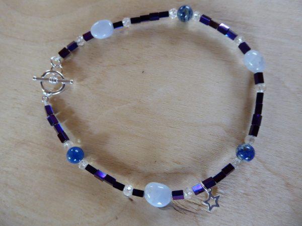 Handmade Gemstone Beaded Anklet Blue Purple
