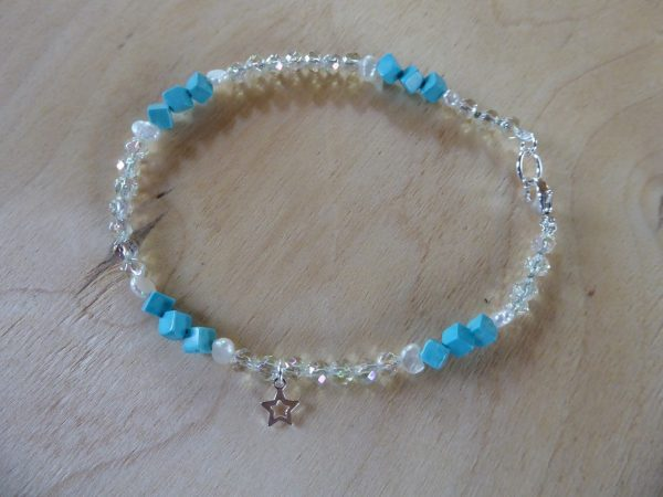 Turquoise Howlite and Rainbow Crystal anklet