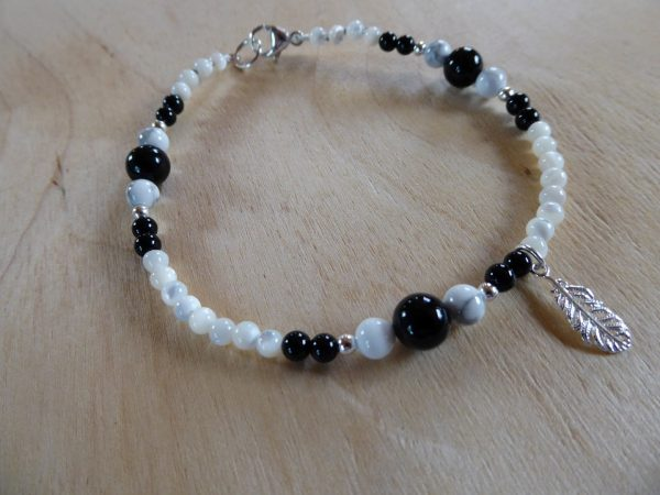 Gemstone Beaded Onyx and Howlite Anklet