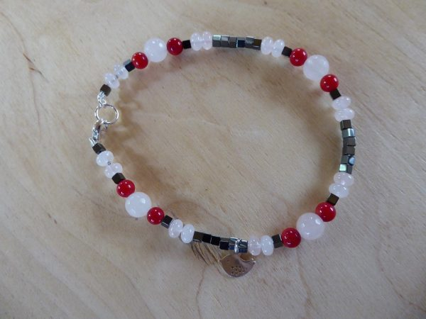 Handmade Rose Quartz and Red Coral Anklet