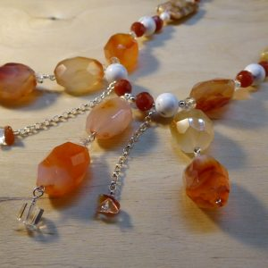 Gemstone Beaded Cornelian Necklace front detail