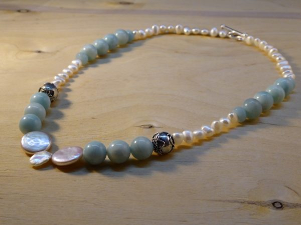 Beaded Pearl and Amazonite Necklace