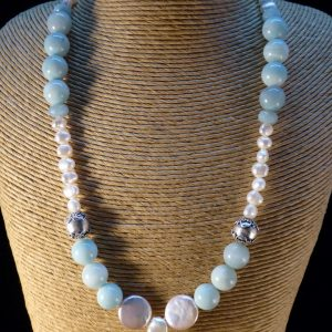 Handmade Pearl and Amazonite Necklace