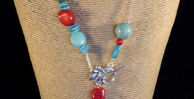 Turquoise, Red Coral and Silver Necklace Front