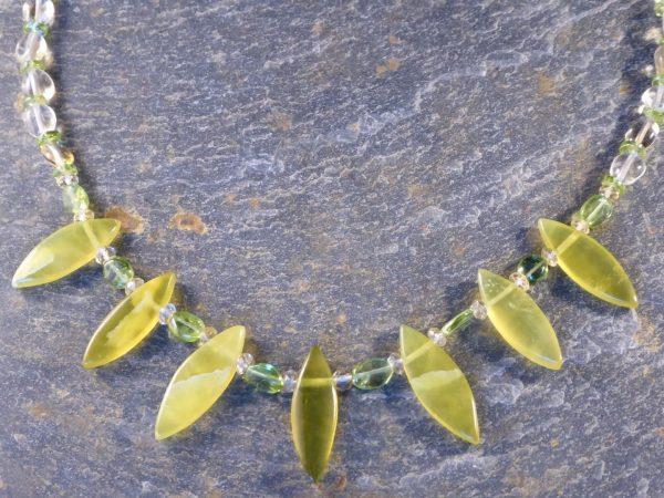 Handmade Citrus Serpentine Beaded Necklace.