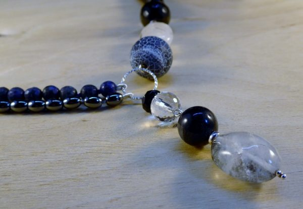Blue Lapis and Black Onyx Handmade Necklace Detail