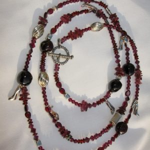 Red Garnet Long Handmade Necklace